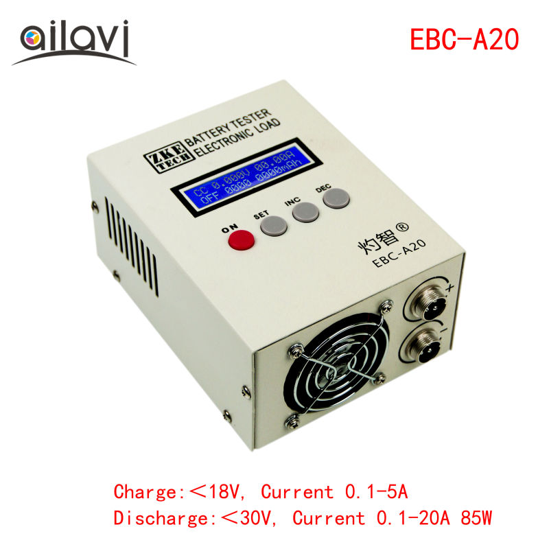 EBC A20 Battery Tester 30V 20A 85W Lithium Lead acid Batteries Capacity Test 5A Charge 20A Discharge Support PC Software Control