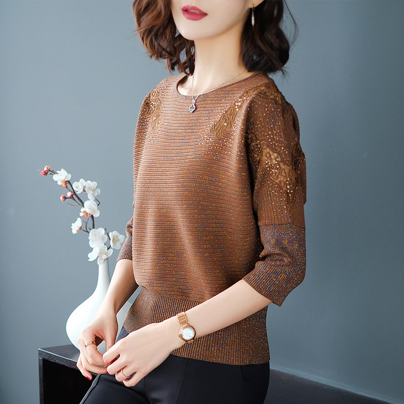 Kint Sweaters Women Winter 2019 Knitted Sweater With Sequins Lace Patchwork Sweater Women Black Sweater Female Jumper Woman in Pullovers from Women 39 s Clothing