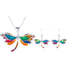 Hot Sell Enamel Multicolor Alloy Unique Dragonfly Jewelry Sets For Women Gift  Vintage Gothic Dragonfly Necklace Earring Set