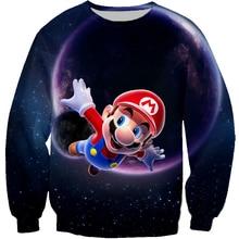 PLstar Cosmos Women Men Cartoon Sweatshirt 3D Print Super Mario Kart Galaxy Flying Hoodies Hip Hop Casual Loose Sweatshirts 5XL