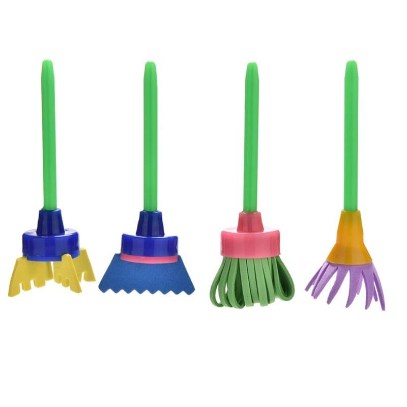 Children DIY Painting Tools Drawing Toys Flower Stamp Sponge Brush Set Art Supplies 4 Pcs/Set