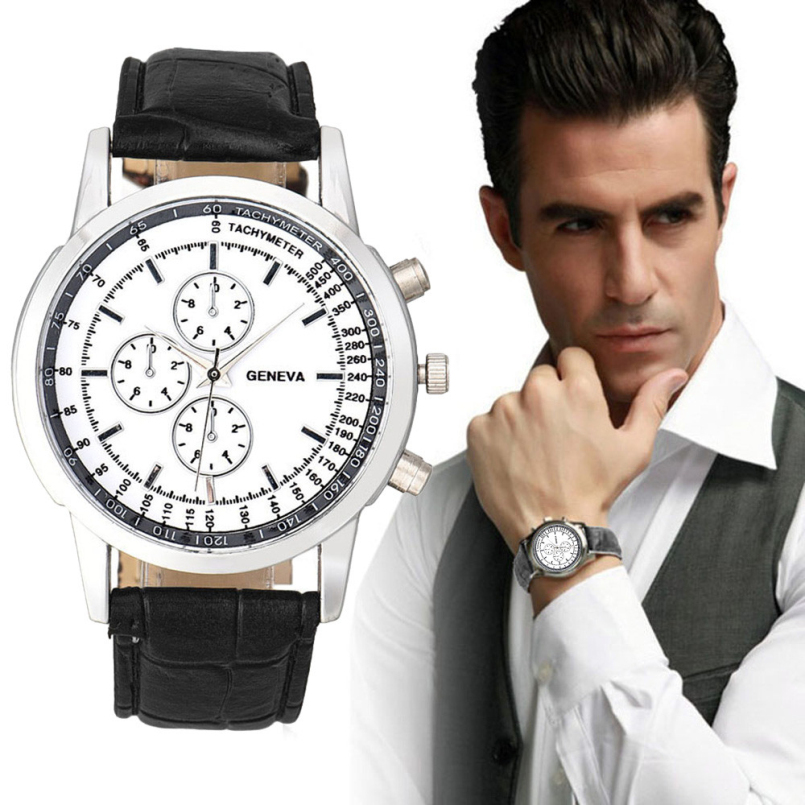 Excellent Quality Fashion Leather Watches Mens Casual watches Business wristwatches quartz watch Relogio Masculino 2016