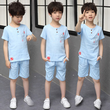 цена на Toddler Boys Clothes 2018 Summer Kids Shorts Suits Casual Cotton Children Clothing Set Boy O-Neck Teenage Sport 6-15T Solid Sets