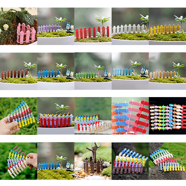1 Pcs Retail 10 Colors Fence Miniatures Fencing Fairy Garden Gnome Moss Terrariums Resin Crafts Decorations Home Garden Kawaii