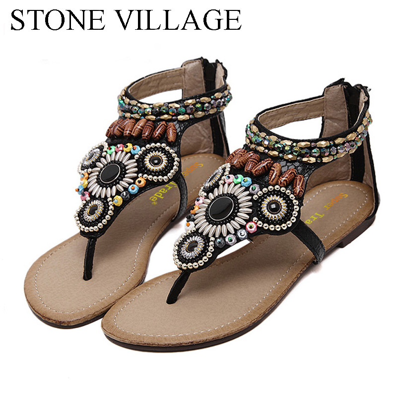 STONE VILLAGE High Quality Casual Bohemian Beaded Women Sandals Summer Flat Rome Beach Sandals 2019 New Flip Flops Shoes WomanSTONE VILLAGE High Quality Casual Bohemian Beaded Women Sandals Summer Flat Rome Beach Sandals 2019 New Flip Flops Shoes Woman