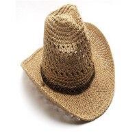 Summer Style Straw Cowboy Hat Unisex Hollow Western Hats Beach Felt Sunhats Party Cap For Man