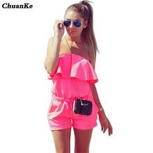 ChuanKe 2017 Women off shoulder Jumpsuit ruffles Bodysuit casual Womens romper plus size candy color Summer