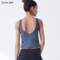 Lora ZEE acolchado gimnasio chaleco espalda abierta Sport fitness top negro malla recortada camisa Linda yoga Sujetador deportivo danza clásica tank top