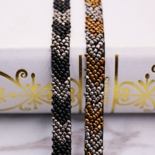 1Yards/lot Pearl Bead Beaded Trims Lace Ribbon Clothes Fringe Wedding Dress Collar Sleeve African Fabric Applique
