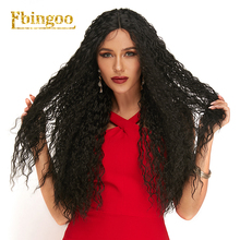 Ebingoo Futura Fiber Long Black Curly Wigs Heat Resistant Synthetic Lace Front Wig 30 Inches with Baby Hair For Women все цены
