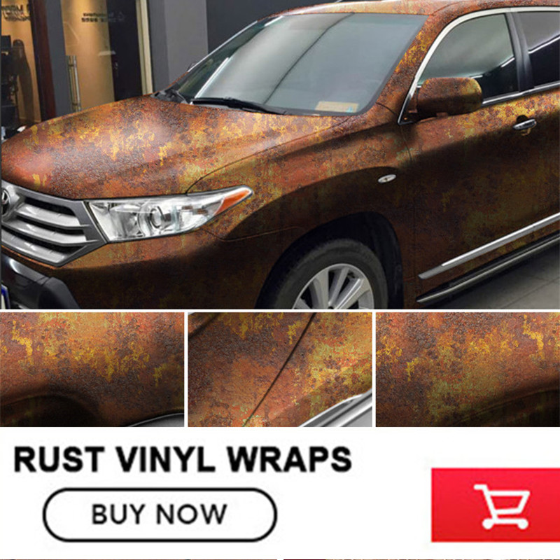 high end car vinyl sticker rust Film Auto Wraps Vinyl Film Car Sticker Cover Rust Vinyl Car Wrap free 2-7days Arrived iron rust vinyl wrap film for car wrap rust style wrapping colored car full body wrap vinyl sticker bomb air bubble free ir 8