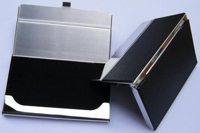 10 шт./партия из нержавеющей стали+ искусственная кожа бедж держатель для визиток, может сделать логотип NMS013