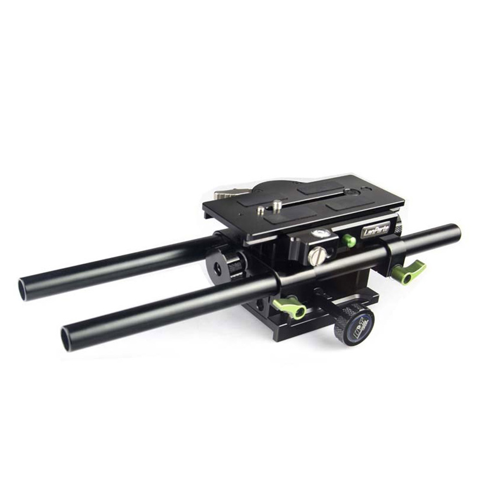 Lanparte V-mount Height Adjustable Camera Base Plate with Quick Release Plate for 15mm Rod System