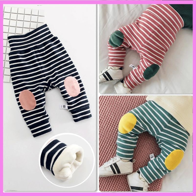 Winter Velvet Lined Baby Girls Fitness Leggings High Elastic Waist Baby Skinny Pants Knee Padded Baby Girls Pants Winter Newborn