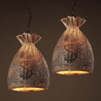 Loft Style Pendant Lamp Creative Money Bag Hanging Lamp Coffee Shop Vintage Pendant Light Personality Resin Art Deco Lighting loft style suspension luminaire wrought iron vintage pendant light coffee shop creative hanging lamp bar art deco lighting