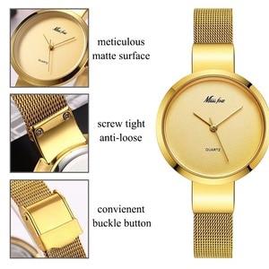 Image 5 - Miss Fox Women Gold Fashion Minimalist Watch Stainless Steel Mesh Ultra Thin Waterproof Causal Small Analog Quartz Female Watch