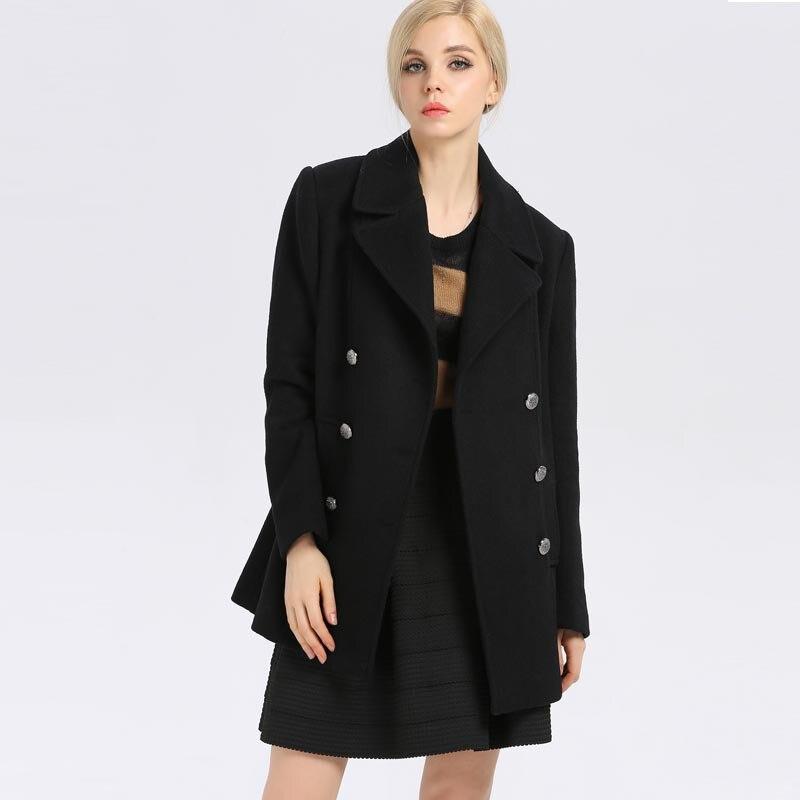 À Épaissir 2017 Chaud Classique Survêtement Haute Femmes Hiver Britannique Boutonnage Double Manteau Bootyjeans Long De Qualité Laine OfRRw