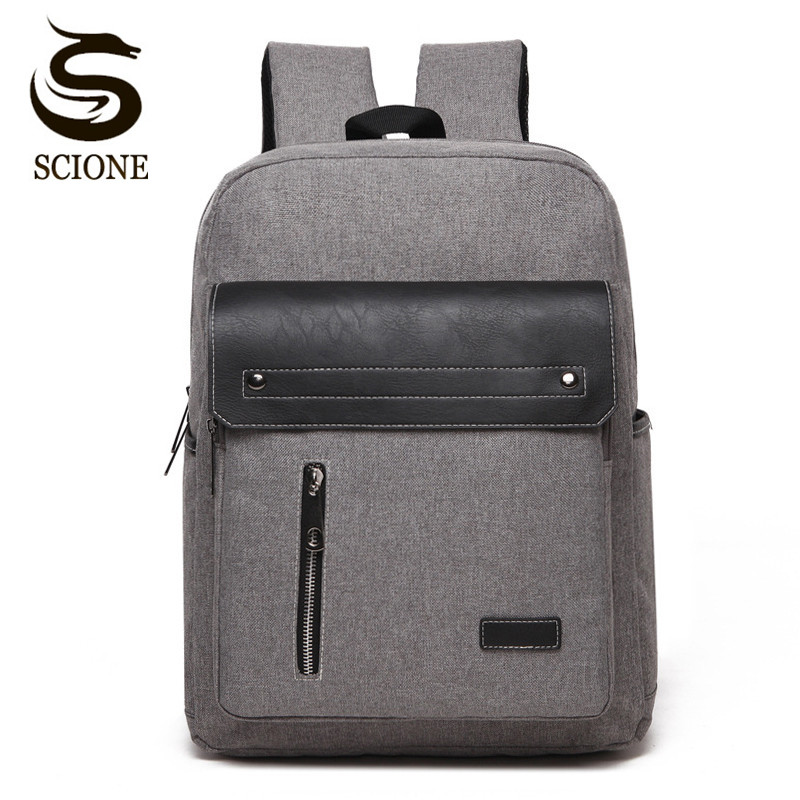 Scione Men Canvas Laptop Backpack High Quality Business Backpack Women School Shoulder Bag Rucksack Waterproof Travel Back Pack цена