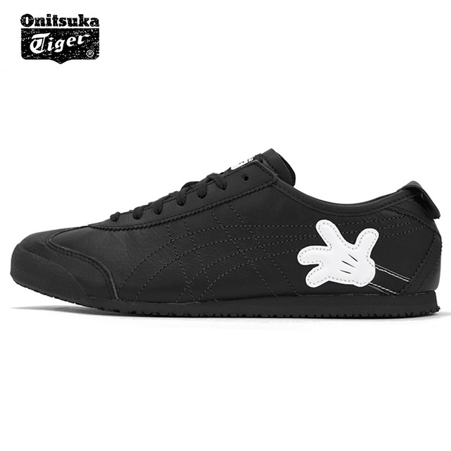 Original ONITSUKA TIGER MEXICO 66 men s women s shoes black Sheep leather  Mickey cooperation breathable sneaker badminton shoes bd9a42bee