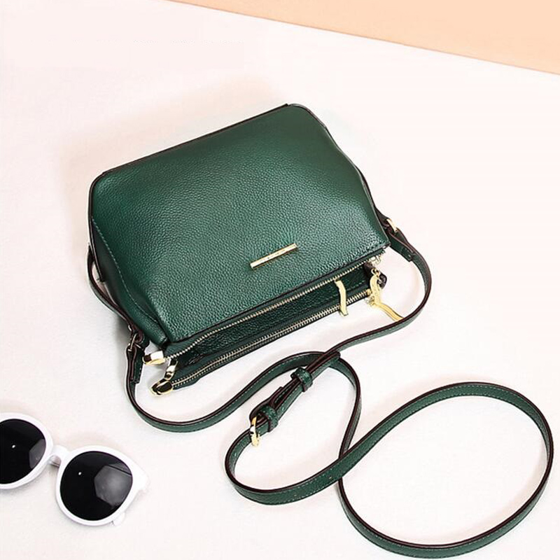 new desigh fashion women shoulder bag genuine leather handbag green black leather bag cowhide leather crossbody bag tote colors 2017 women bag cowhide genuine leather fashion folding handbag chain shoulder bag crossbody bag handbag party clutch long wallet