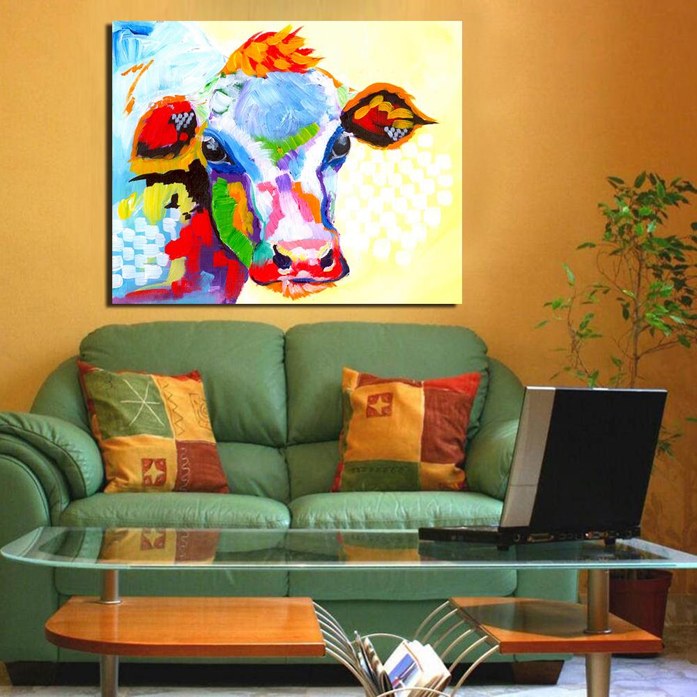 WANG KUNST Fleissigen Ox Leinwand Kunst Lgemlde Moder Wohnkultur Bild Wandbilder Fr Wohnzimmer Kein Rahmen