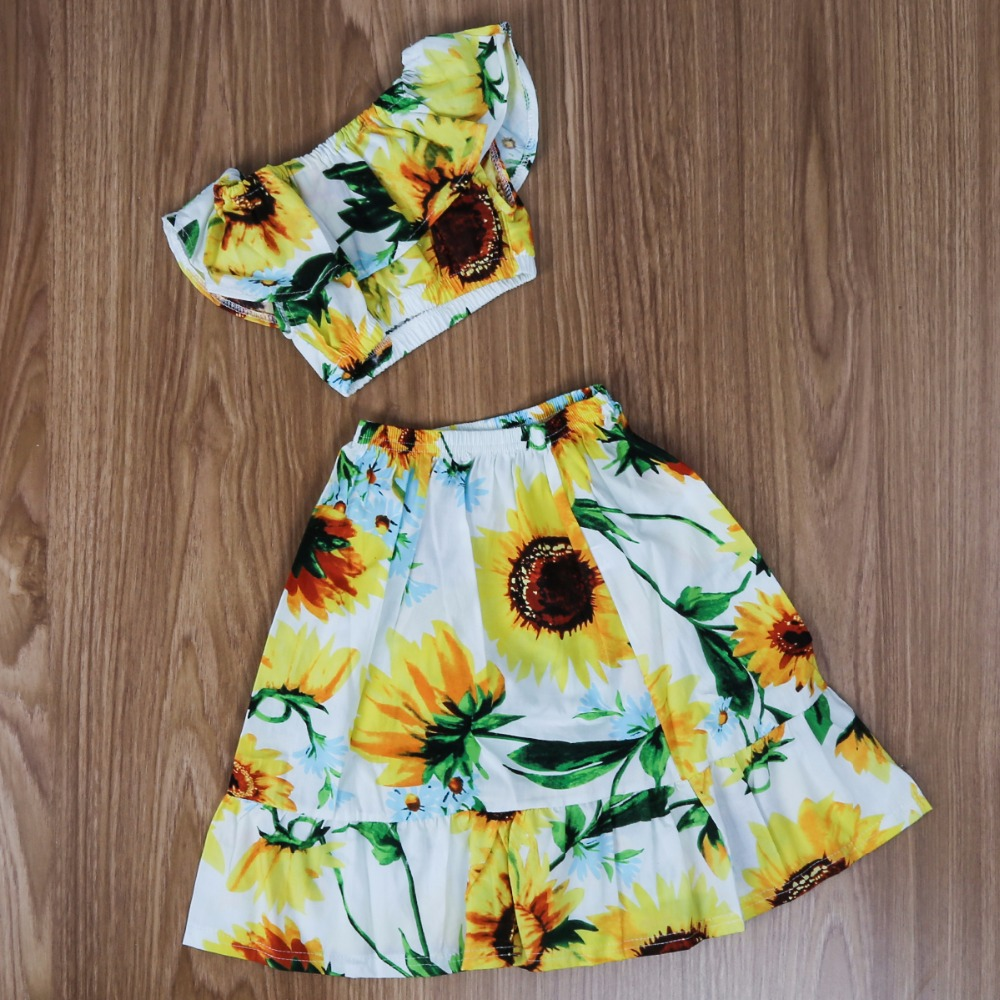 e299339568 Puseky 1 6Y 2pcs/set Baby Girl Sunflower Boat Neck Crop Top+Skirt Kid  Summer Tropical Clothes Suit Outfit Elegant Wear Casual -in Clothing Sets  from Mother ...