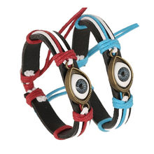 Bracelets New Buddha Alloy Unisex Eye Jewelry Hemp Rope Antique Leather Pendant Bracelet Drop ShippingJU04(China)