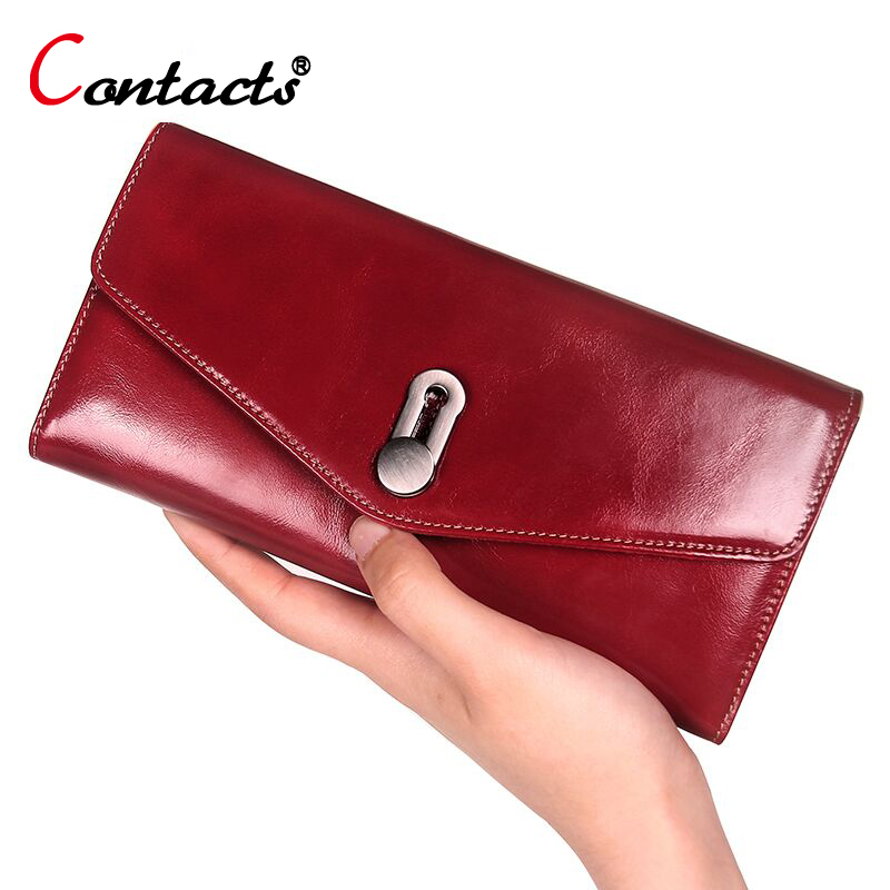 CONTACT'S Cow Genuine Leather Women Wallet Female Red Leather Purse Women Clutch Long Wallet Phone Credit Card Holder Coin purse vintage handmade natural cow leather women s large burgundy wallet card case retro long wallet phone holder ladies clutch purse