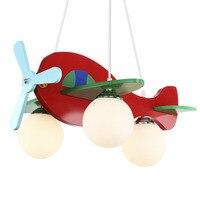 Children Model Plane Bedroom Pendant Lamps glass Lampshade Kids Lights Fixtures E27 LED Hanglamp Fibreboard Lighting 110V 220v