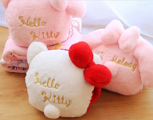 1pc 150cm very soft sweet hello kitty My Melody plush coral fleece rest office cushion + blanket high quality toy romantic gift