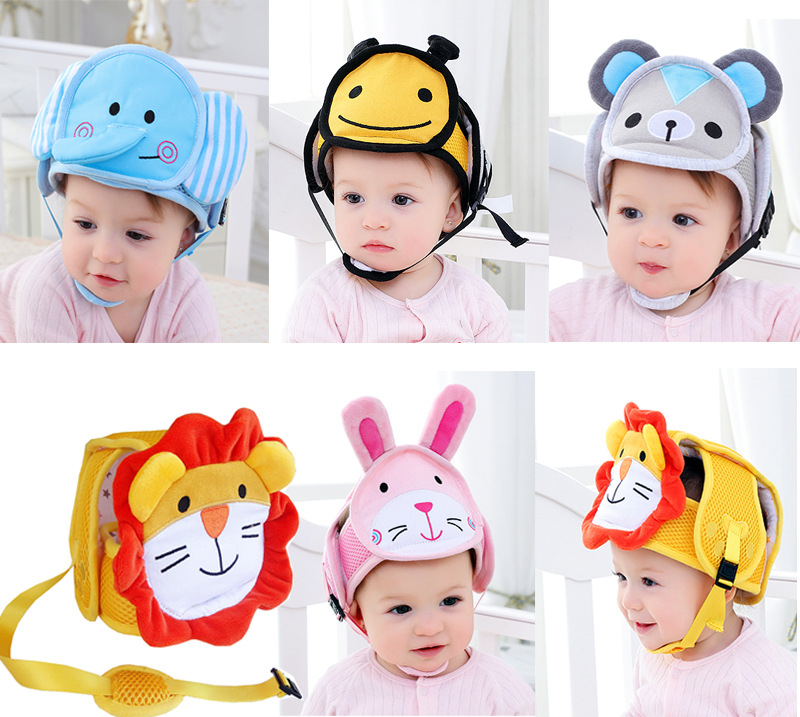 Adjustable Baby Head Protection Hat Toddler Drop Crash Cap Shatter-Resistant Cartoon Child Safety Helmets Head Walking Assistant