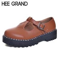 HEE GRAND 2017 Patent Leather Women Oxfords British New Spring Platform Flats Casual Buckle Strap Ladies