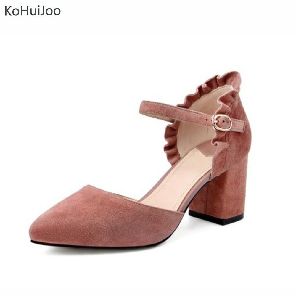 KoHuijoo 2018 Ankle Strap Pumps Women Pointed Toe Ruffles High Heel Party Shoes Sweet Square Toe High Heels Shoes Lady Pink pu pointed toe flats with eyelet strap