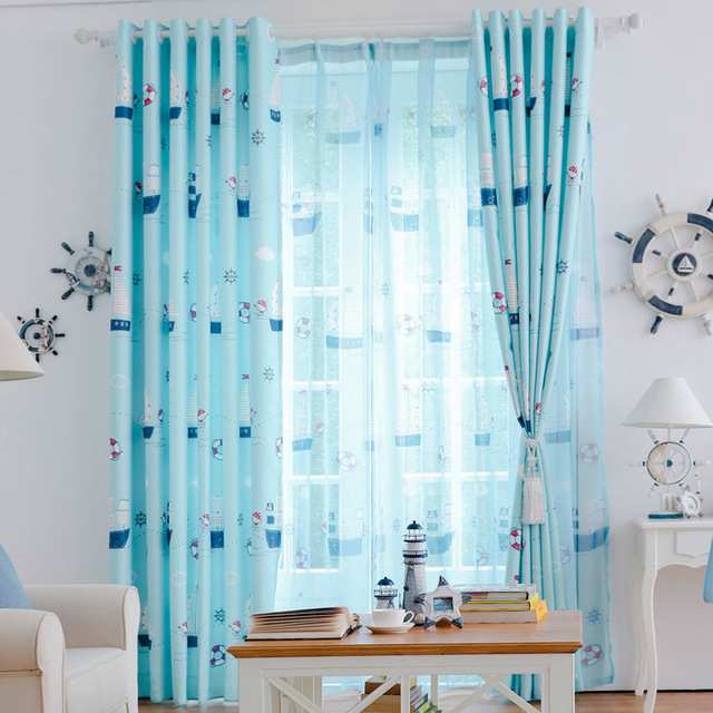 US $8.48 5% OFF|New Arrival Mediterranean Adventure Sailing Cartoon  Children\'s Bedroom Curtains for Boys Fabric Blue Kids Curtain-in Curtains  from ...
