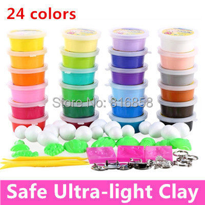 Ultra light Polymer Clay 24 Colors Plasticine 3D Clay Set Child Space Clay Toy Play Doh