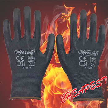 Nmsafety 12 pairs lightness comfortable black polyester nylon work safety gloves electrician safety gloves.jpg 350x350