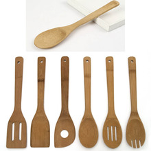 De alta Calidad 6 Unidades De Bambú Cuchara Espátula de Mezcla Conjunto Utensilio de Cocina De Madera Herramienta de Cocina Para Cocinar En Casa