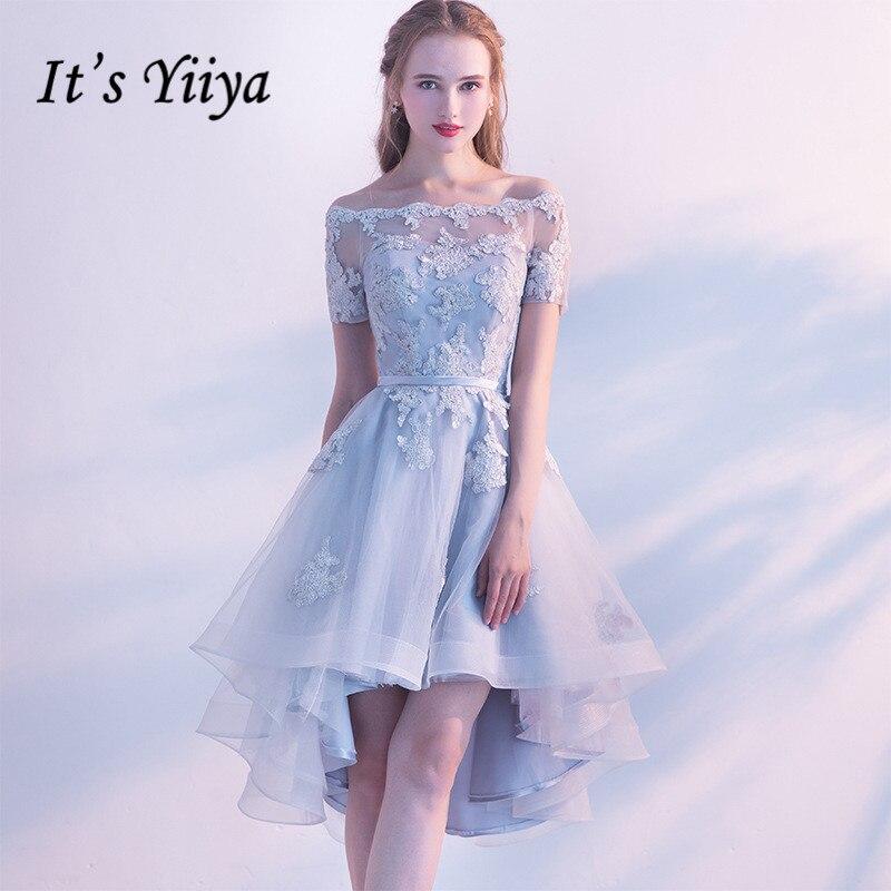 b30caf8e639b533 Это yiiya серый Лодка шеи короткий рукав с плеча Аппликации Кружева платья  для выпускного вечера высоких и низких Чай Длина торжественное пла.