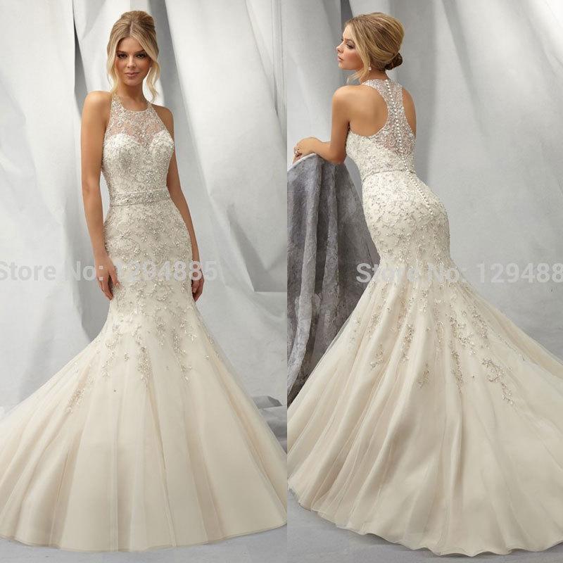 2015 New Arrival Modern Mermaid Sweetheart White Lace Wedding Dress ...