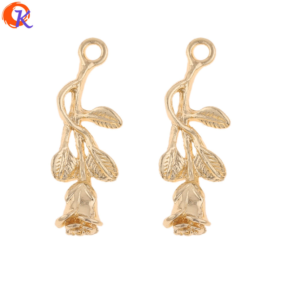Cordial Design 100Pcs 10*29MM Jewelry Accessories/Charms Pendant/Rose Flower Shape/DIY/Earring Making/Hand Made/Earring Findings