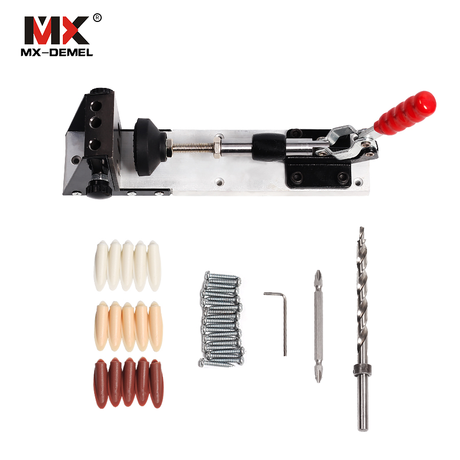 MX-DEMEL Woodworking Carpenter Kit System Inclined Hole Drill Tools Clamp Base Drill Bit Kit System,Pocket Hole Jig Hand tools woodworking tool pocket hole jig woodwork guide repair carpenter kit system with toggle clamp and step drilling bit kreg type