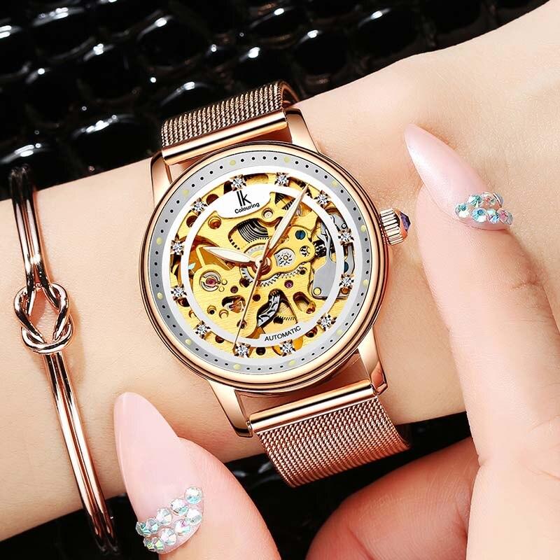 Femmes montre de luxe marque décontracté dames montre robe creux automatique mécanique montre horloge femme feminino reloj mujer - 4