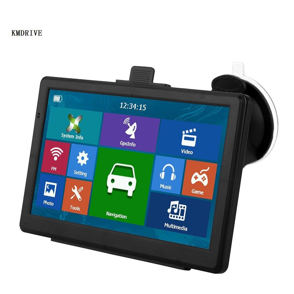 """KMDRIVE """" дюймовый HD Автомобильный gps навигатор SatNav 256/8GB навигаторы Bluetooth AV-IN FM MP3/mp4 плееры"""