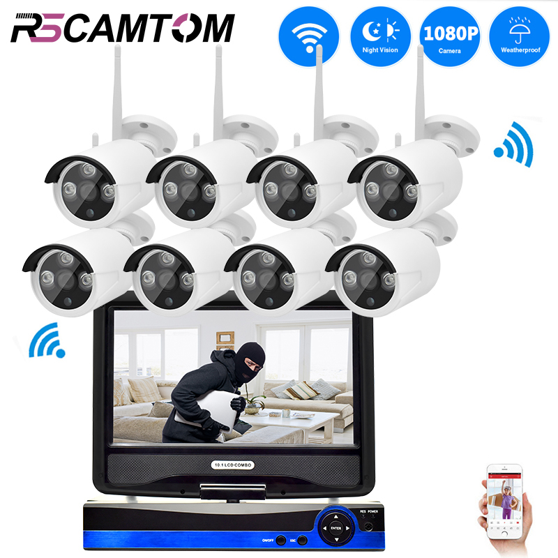 CCTV System WIFI NVR Kit 8CH HD 1080P Security Camera Wireless Outdoor 2MP Surveillance IP Cameras LCD Screen NVR Video Monitor стоимость