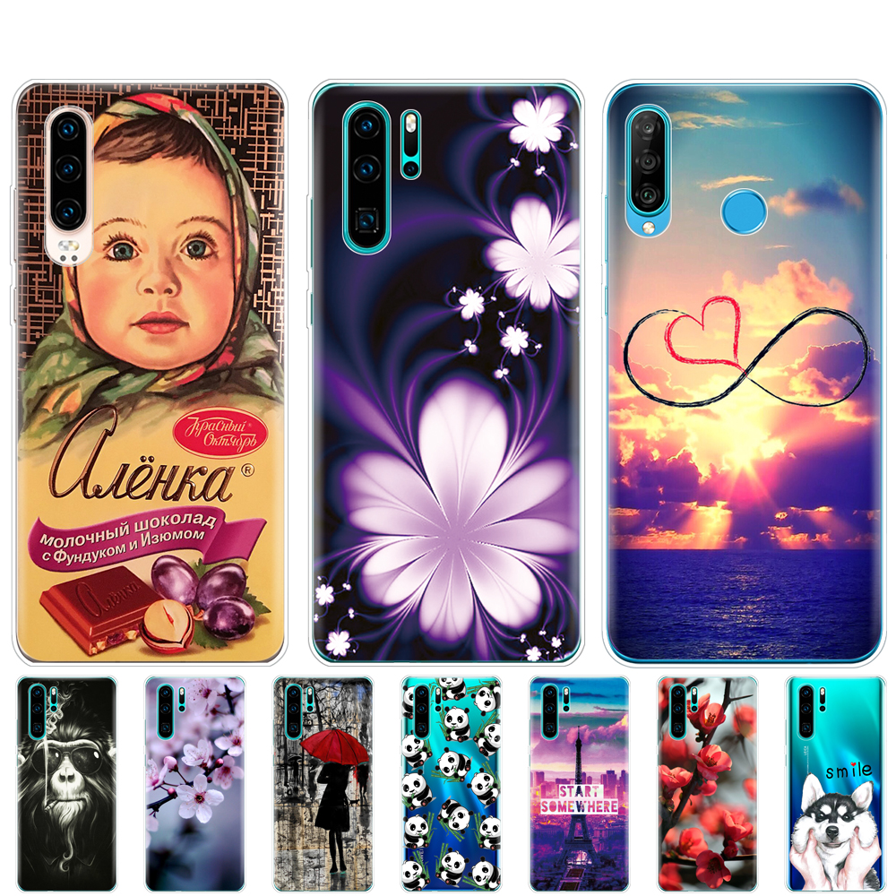 for Huawei P30 Pro Case bumper Silicone soft TPU Phone case Back Cover On Huawei P30 Pro VOG-L29 ELE-L29 P 30 Lite coque print