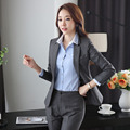Novelty Grey Formal Uniform Design Career Work Wear Suits With Jackets And Pants Slim Fashion Pantsuits Ladies Trousers Set