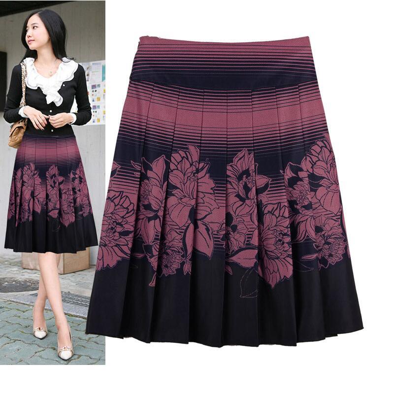 M 6XL Women Plus Size Skirt 2018 Fashion Autumn Winter High Waist Pleated Skirt Casual Long