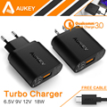 Para Qualcomm Certificada AUKEY Quick Charge 3.0 Inteligente USB Carregador de Parede para samsung galaxy s6 7 htc iphone xiaomi mi4 5 & more ue/eua