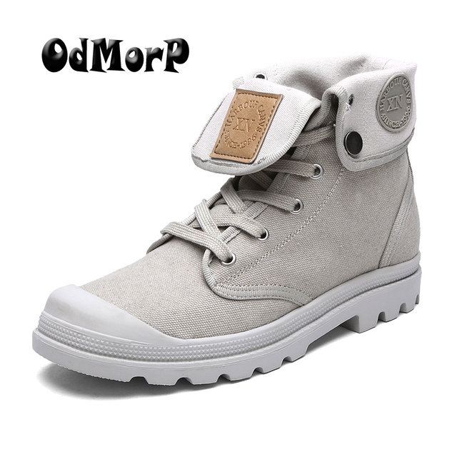 US $28.99 45% OFF|ODMORP Fashion Boots Men Canvas Shoes Men Ankle Boots Casual Shoes Men Botas High Quality Autumn Spring Men Shoes in Basic Boots