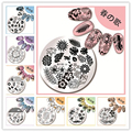 1 Pc Nail Stamping Template Christmas Flower Animal Design 5.5cm Round Manicure Nail Art Stamping Image Plate 01-27